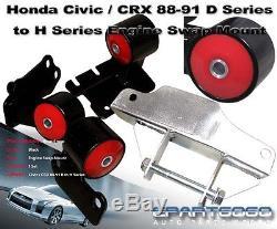 88-91 Honda Civic/crx Ef D-series To H22/h23 H-series Swap Motor Mount Black