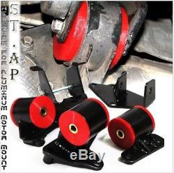 96-00 Honda Civic F22 H23/H22 Engine Swap replace Polyurethane Motor Mounts Red