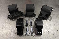 Avid 5 Piece Black Engine Mount Kit 92-95 Honda Civic 62A Street 2 Post