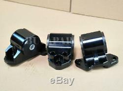 Black Billet Aluminum Motor Mounts Swap Kit For 92-95 Honda Civic EG D-B Series