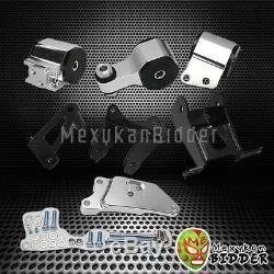 Chrome Billet Engine Motor Mount Swap Kit For Honda Civic 2006-2011 Si FG FA FD