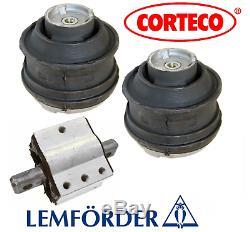 Engine Motor Mount Hydraulic Set + Transmission Mount 3pc OEM Corteco Mercedes