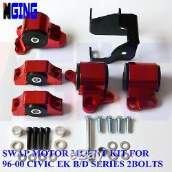 Engine Torque Motor Mount Kit Bracket For Civic 96-00 EK D16 B16 B18 Red