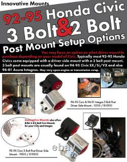 Innovative 3-bolt B-series Post Mount For B16 B18 B20 Honda CIVIC Acura Integra