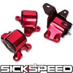 Red 96-00 Two Hole Motor Mounts Kit D16 B16 B18 Eg B-series Engine For Honda Ek