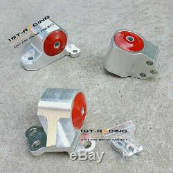 Red ENGINE MOUNT KIT EG EH/DC D15/D16 B16/B18 SWAP MOTOR RED NEW BILLET ALUMINUM
